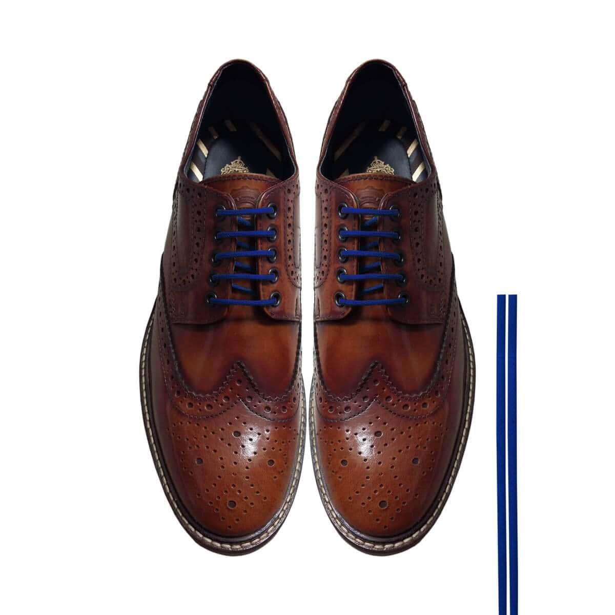 diseño atemporal a3598 37d93 Cordones Zapatos Azul Oxford Redondos Finos